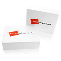 White hinged boxes with logo printing